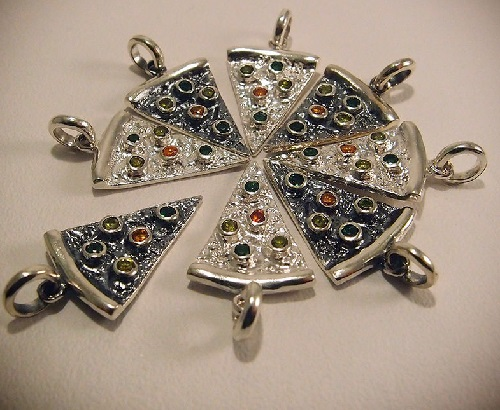 Pizza for all the friends. Burnished silver pendant in the form of a piece of pizza, decorated with colored cubic zirconia