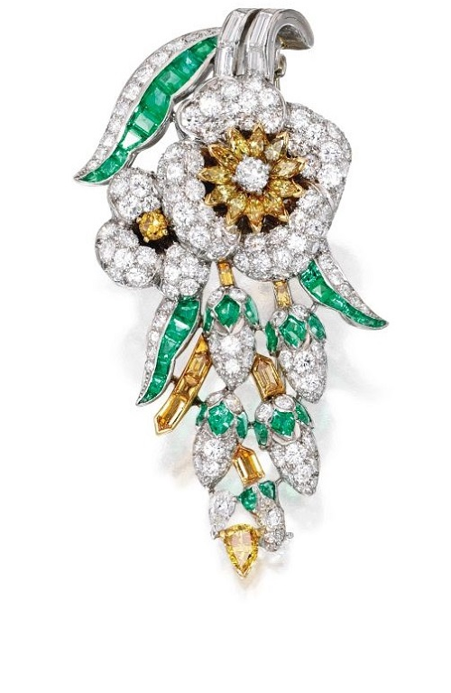 Platinum, Diamond, Colored Diamond and Emerald Brooch, Oscar Heyman & Brothers, Circa 1936