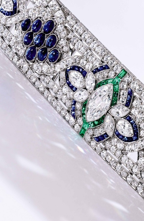 Platinum, Diamond, Sapphire and Emerald Bracelet, Oscar Heyman & Brothers, circa 1925