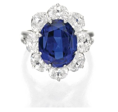 Platinum, Sapphire and Diamond Ring, Oscar Heyman & Brothers, 1986