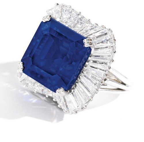 Platinum, Sapphire and Diamond Ring by Oscar Heyman & Brothers