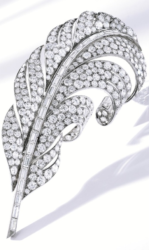 Platinum and diamond Feather clip-brooch, Boucheron, France