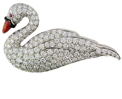Platinum cab ruby & diamond swan brooch