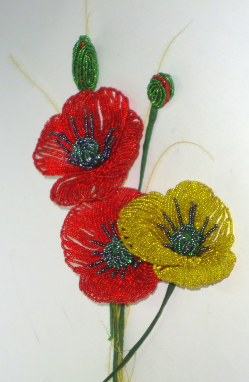 Poppies of beads