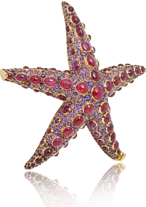 Ruby and Amethyst Starfish Brooch by Boivin, circa 1939