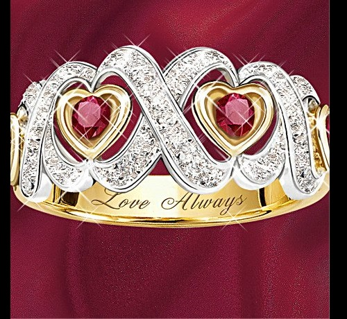 Ruby and diamond sacred heart ring