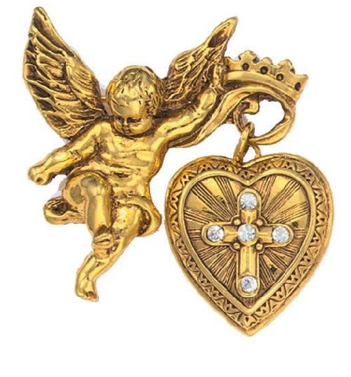 Sacred heart Vatican Locket Brooch