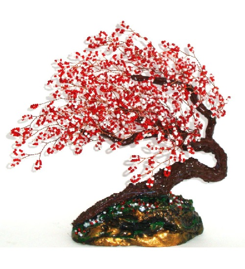Sakura in the wind. Materials used beads, copper wire, plaster, acrylic paint and varnish