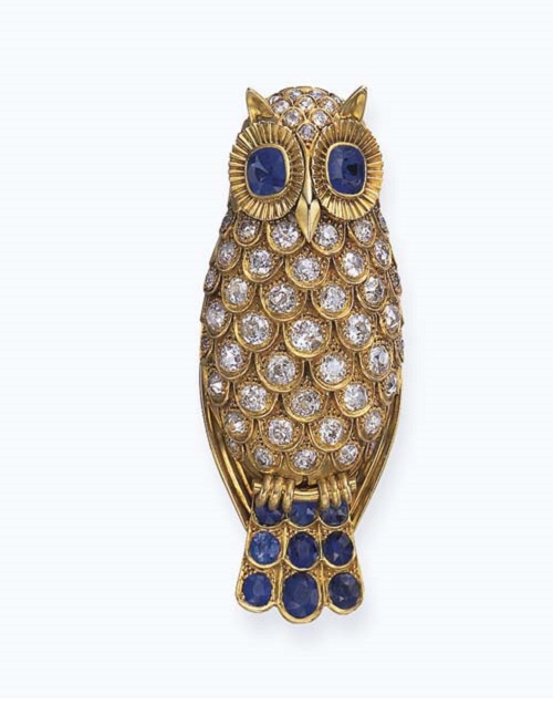 Sapphire and diamond brooch Owl