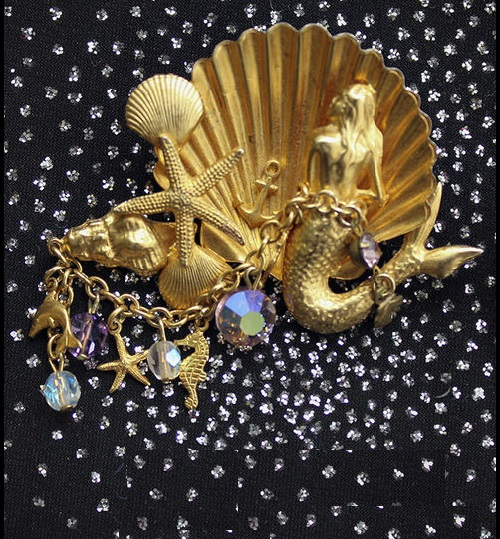 Set of jewelry 'Mermaid' - Brooch Mermaid on the Throne and earrings. Vintage Costume jewelry of 70s, marked Kirks Folly, alloy of gold color