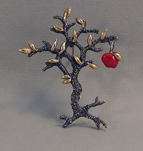 Silver brooch Tree