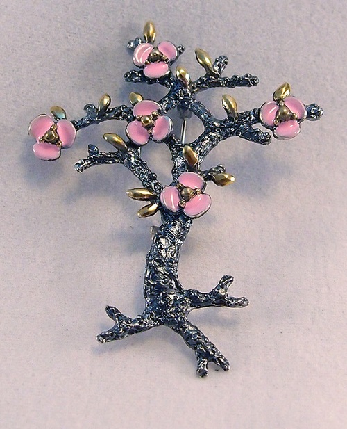 Silver brooch with enamel Flowering tree
