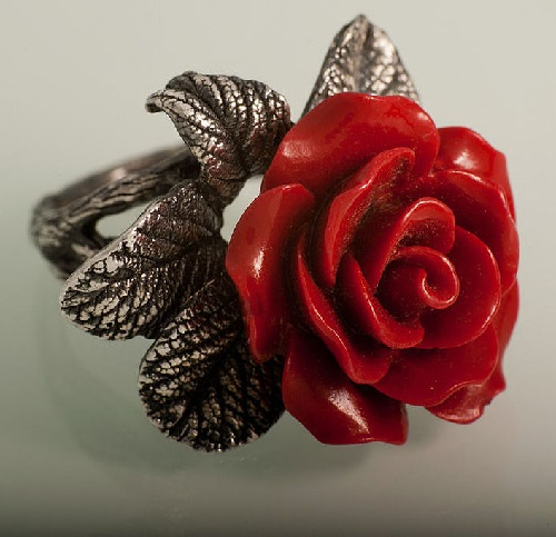 Silver ring Red rose, coral