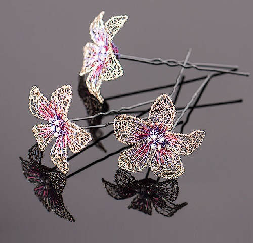 Silver, rose and purple hair pins of silver plated wire