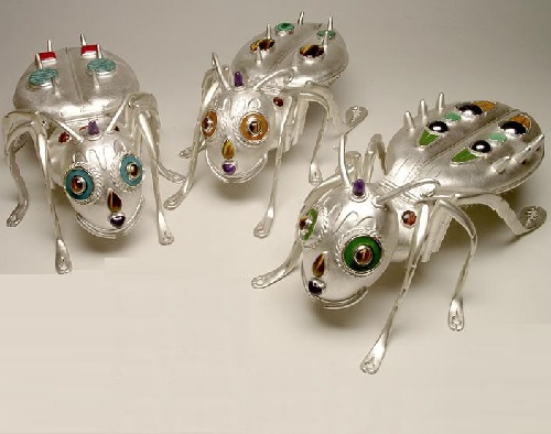 The Ant for table. Silver, natural stones