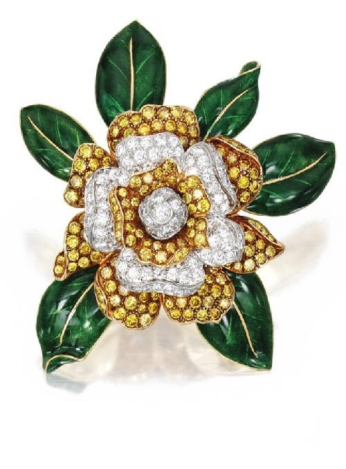 Two-Color Gold, Diamond, Colored Diamond and Enamel 'Gardenia' Brooch, Oscar Heyman & Brother