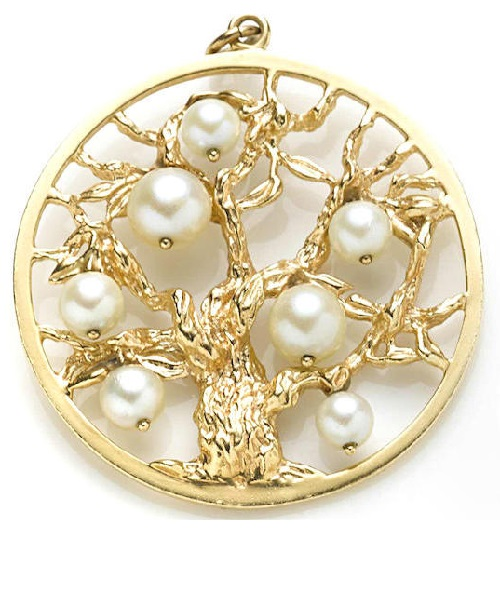 Tree of Life jewelry symbolism. Two gem-set, cultured pearl and gold Tree Of Life pendants Bonhams auction