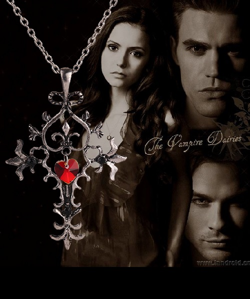 Vampire Diaries Gothic Fantasy Sacred Heart Cross Necklace&chain