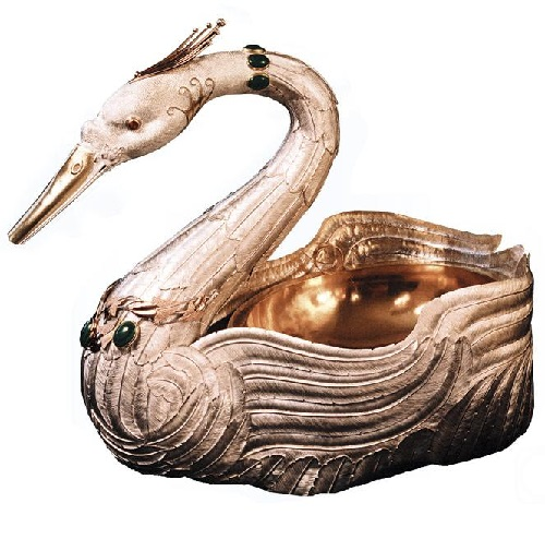 Vase Swan, gold, silver, natural stones
