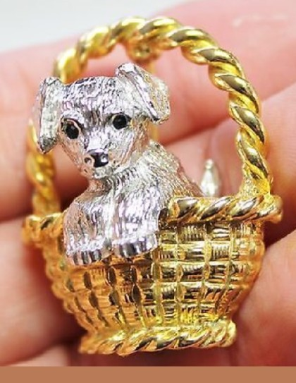 Vintage brooch marked Joan Rivers, USA. Cute dog in a basket waiting for its mistress