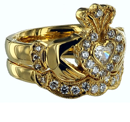 Symbolic Claddagh ring. Yellow gold, diamond Claddagh wedding ring