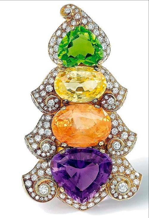 multi-gem and diamond clip brooch by Bulgari