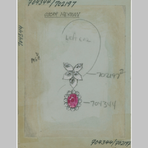 sketch, courtesy of the archives at Oscar Heyman & Brothers