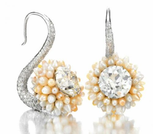 A pair of Natural Pearl and Diamond Ear Pendants by Viren Bhagat