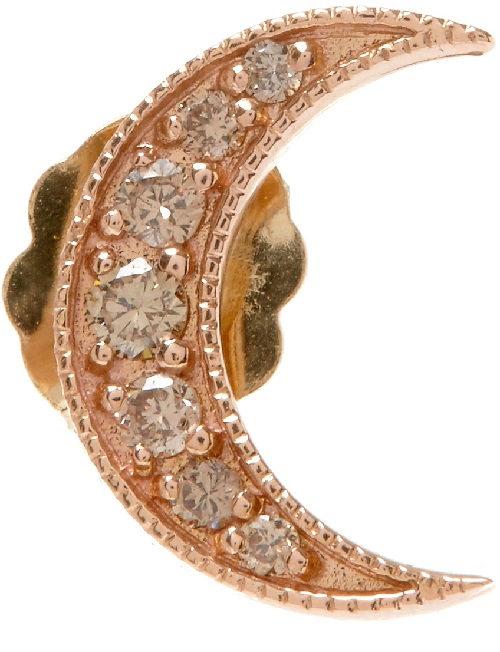 Andrea Fohrman moon crescent earring. Champagne diamond, rose Gold