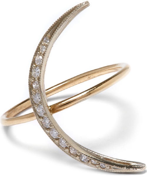 Andrea Fohrman moon crescent ring. Gold, diamonds