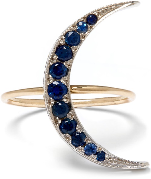 Andrea Fohrman moon crescent ring. White Gold, sapphire, diamonds