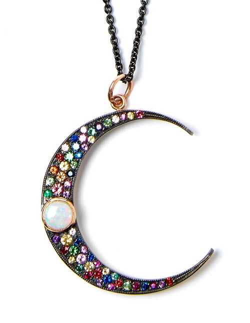 Andrea Fohrman multi color moon crescent pendant. Sapphire, emerald