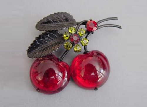 Brooch Cherry. Austrian vintage jewelry
