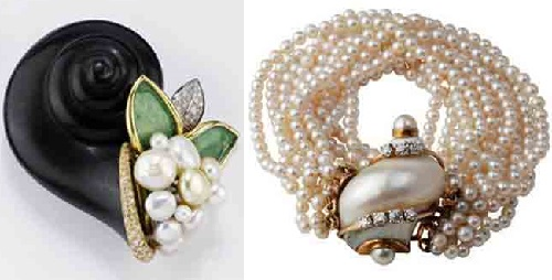 Brooch and bracelet with seashell