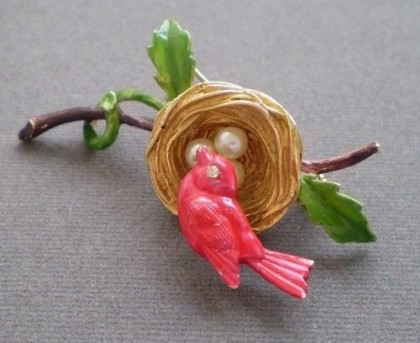 1960s, bird mounted on a spring, so it will tremble with every movement of its owner