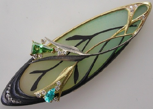 Brooch. Enamel, precious stones. Jewellery collection 'In the Garden'