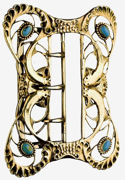 Buckle belt 'Fish'. Around 1897, silver, turquoise