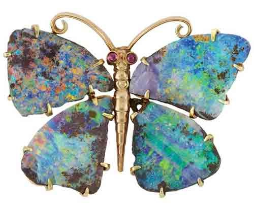 Butterfly brooch - gold, opal, two rubies