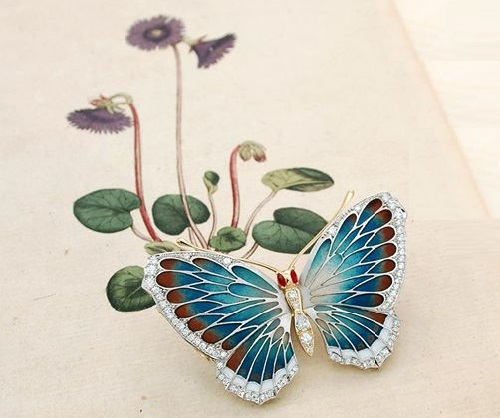 Butterfly enameled brooch from the jewellery garden of Japanese master