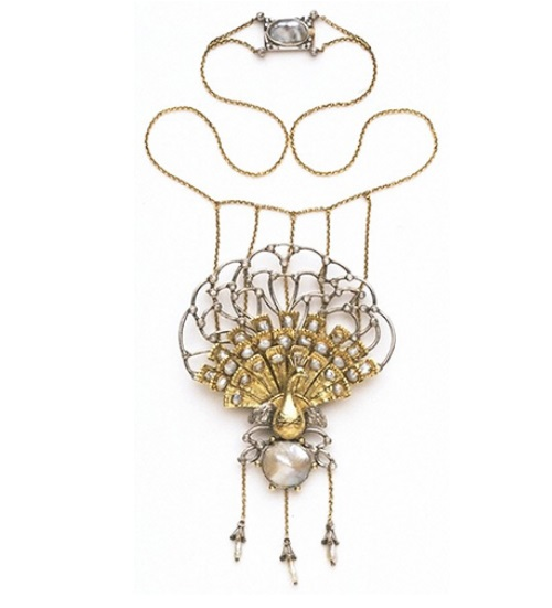Charles Robert Ashbee pendant and necklace Peacock