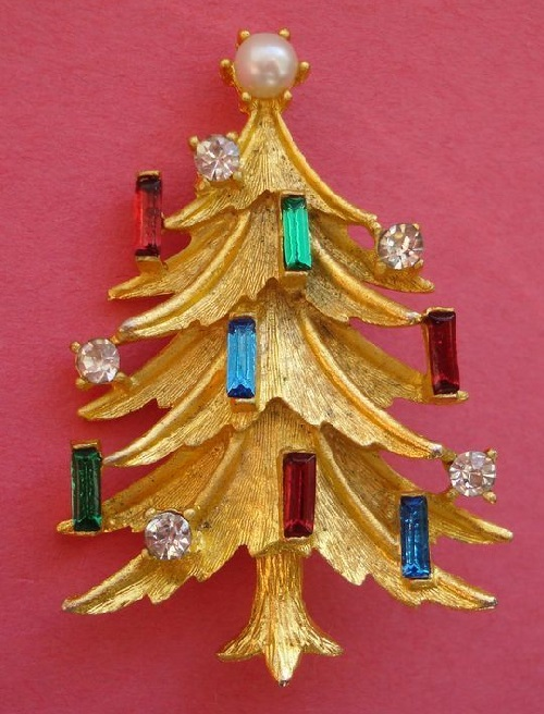 Christmas tree Vintage brooch by Mamselle