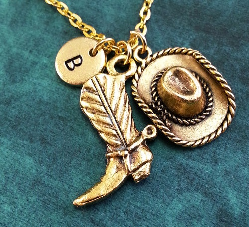 Cowboy Boot Hat Necklace