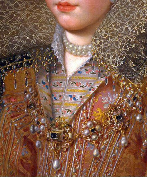 Detail of rich dress of Tudor era