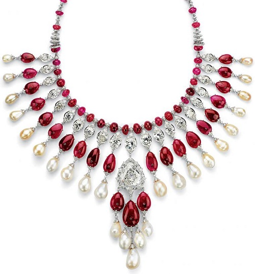 Diamonds, rubies and pearls necklace