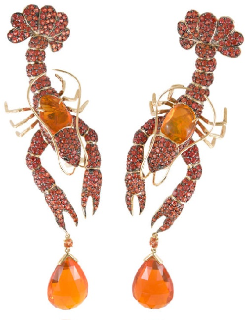 Earrings Cancer of yellow gold, black diamonds, orange sapphires, fire opals