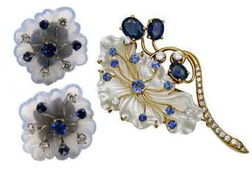 Earrings and brooch - rock