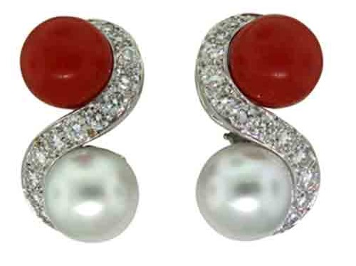 Earrings - coral, pearl, diamond
