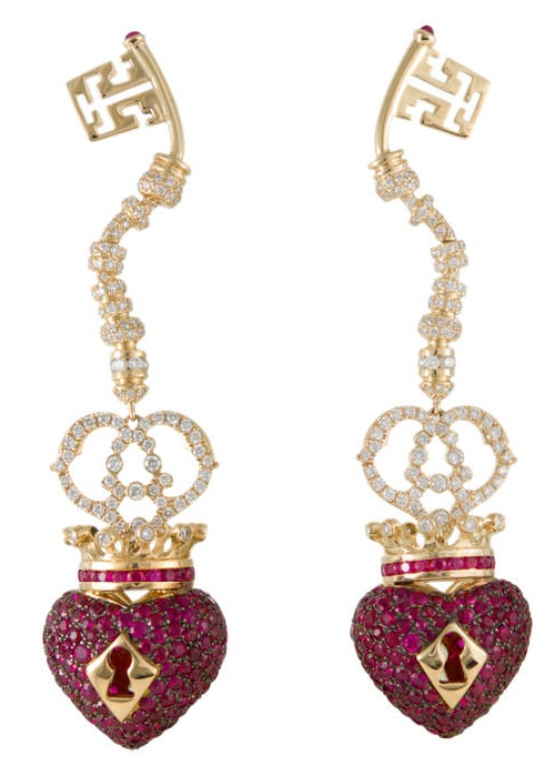 Earrings - yellow gold, black diamonds, red sapphires