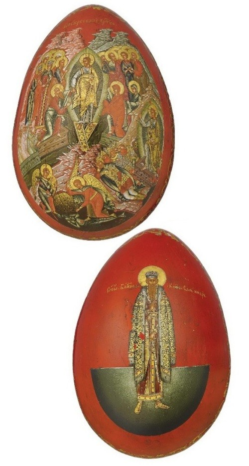 Easter Egg in Palekh technique, Papier-mache, laquer miniature. Russia 19th century
