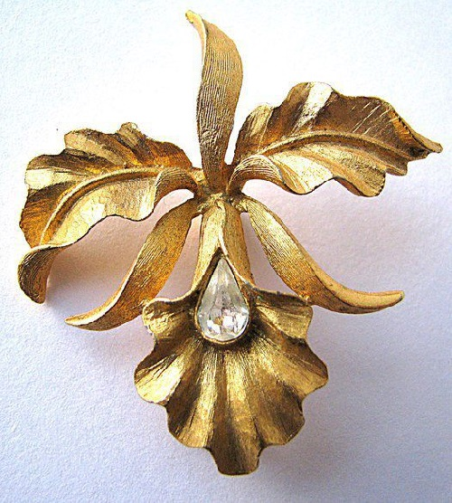 Elegant vintage brooch in the form of the orchid, marked Mamselle